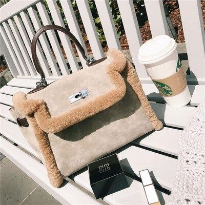 1099639b47 Detail Feedback Questions about New Winter Fashion Plush Female Handbags  Luxury Designer Women Handbag Fur suede Shoulder Messenger Crossbody Bag ...