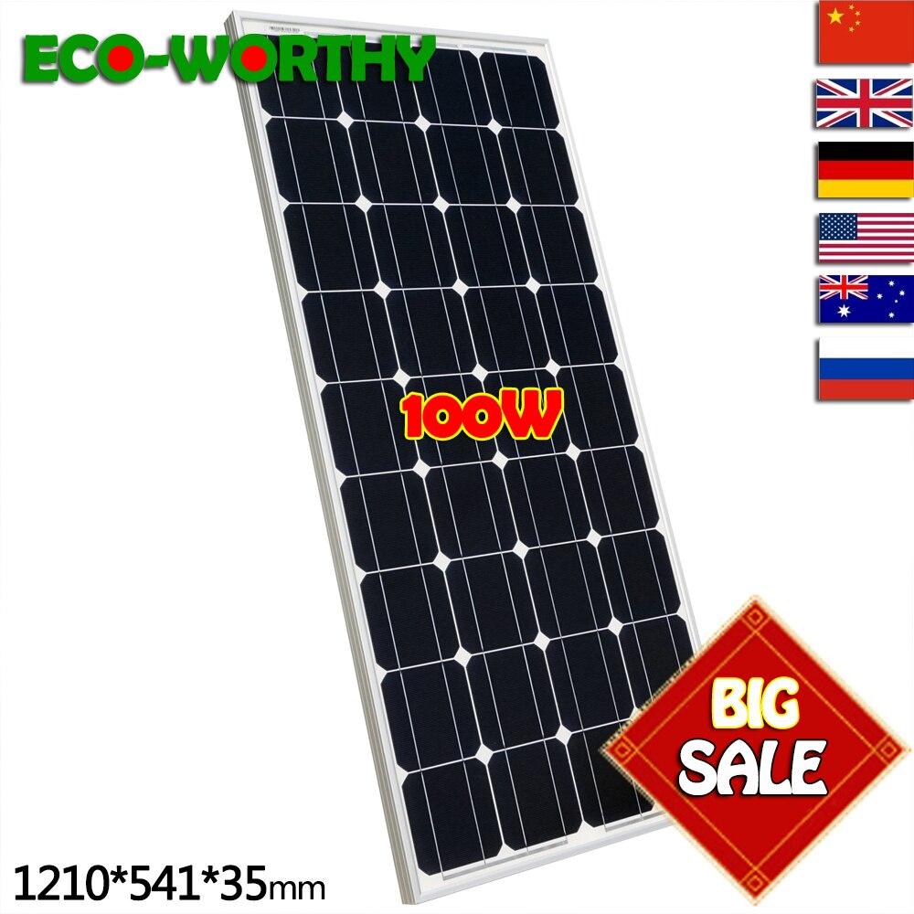 100 W 12 V Monocristallino Pannello Solare per 12 V Batteria RV Barca, Auto, energia solare a casa 100 W sistema di energia solare pannello solare