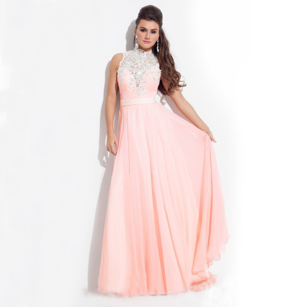 Top Quality Coral Long Prom Dresses Pink Purple High Neck Lace