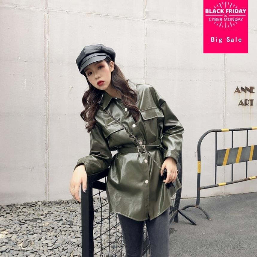 Fashion brand Glossy patent   leather   jackets pu   leather   jacket female street style single breasted long   leather   jacket wq561