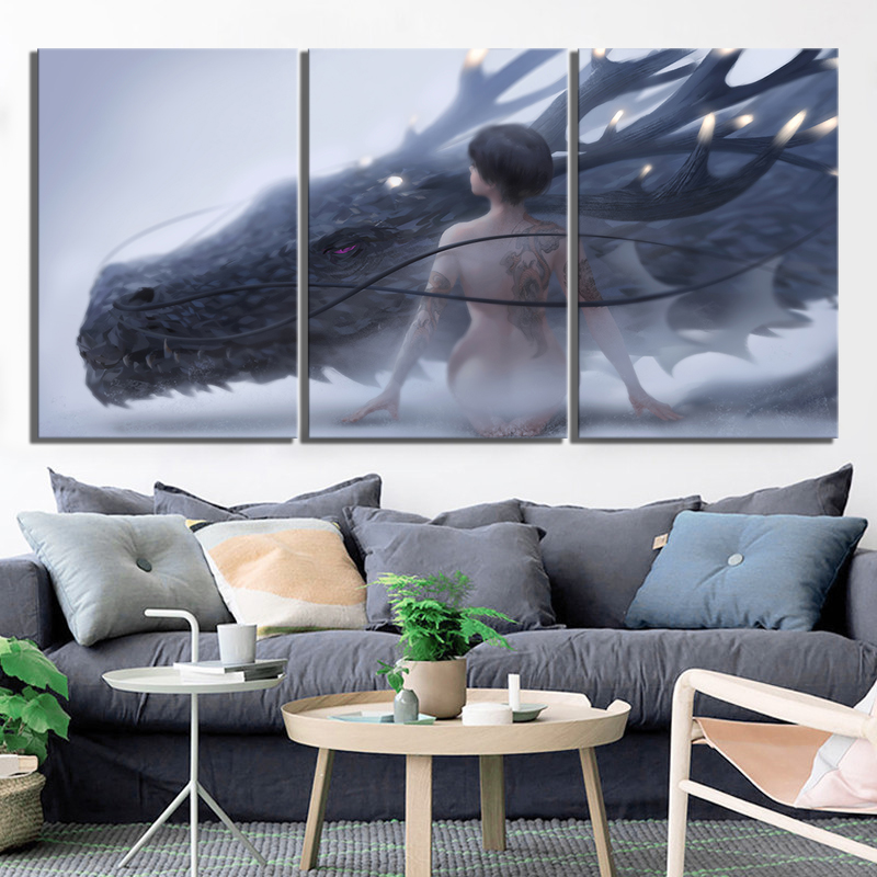 3 Piece Fantasy Art HD Pictures Dragon and Sexy Girl Poster Artwork Paintings Game of Thrones Poster Wall Art for Home Decor 2