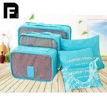 6PCS/Set High Quality Travel Mesh Bag Luggage Organizer Packing Cube Organiser Travel Bags