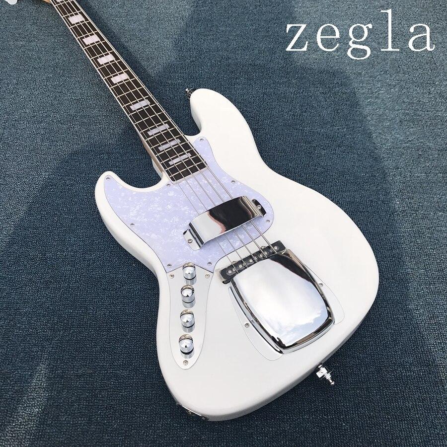 Guitare basse à gauche 4 cordes personnalisée avec couleur blanche, Pickguard blanc, touche en palissandre avec 20 frettes et peut être personnalisée