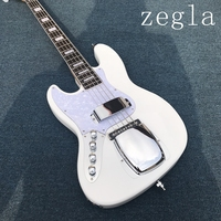 Custom 4 String Left hand Bass Guitar with White Color,white Pickguard,Rosewood Fingerboard with 20 Frets and can be Customized