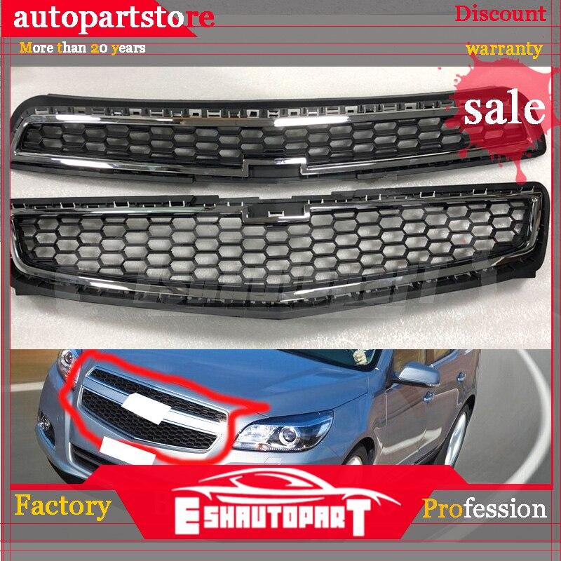 2 шт./компл. верхняя Замена решетки соты передний бампер грили наборы с хромированной полосой для Chevrolet Malibu 2013