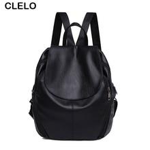 CLELO Fashion Women Backpacks Black Bag Female Bagpack Teenagers Student School Bags Travel Backpacks Girls PU Mochila Backpack