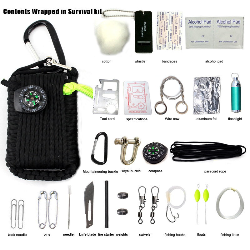 New Self Defense To Survive 29-One Survival Kit Outdoor Survival Kit Survival Plug Wire Saw Umbrella Rope Hand Playing Poker 2017 new outdoor climbing hiking tool self defense sticks multifunctional survival kit emergency equipment superior tool