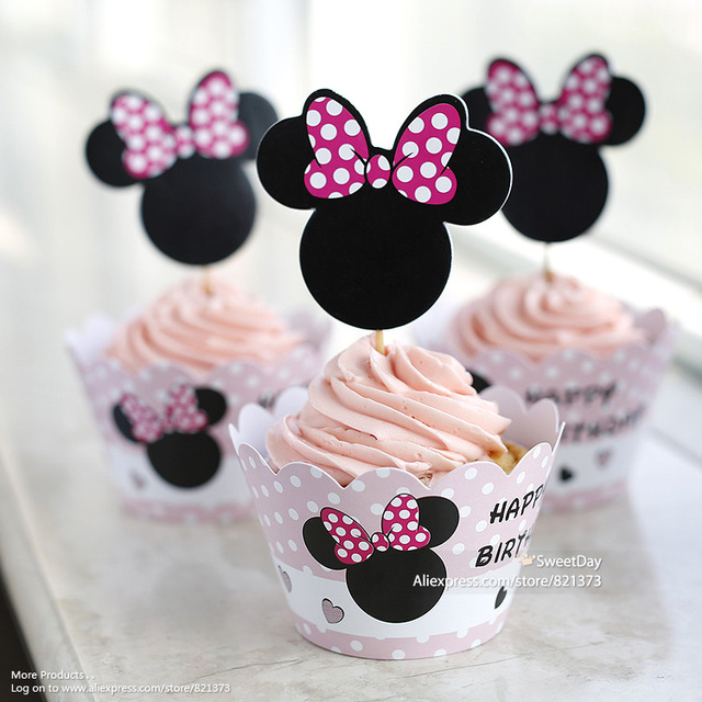 Free Shipping Minnie Mouse Cupcake Wrappers Cake Cups Picks Toppers