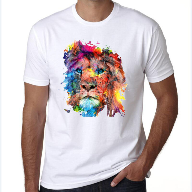 on sale b2027 173cd mens t shirts fashion 2017 The King Lion Wear Glasses ...