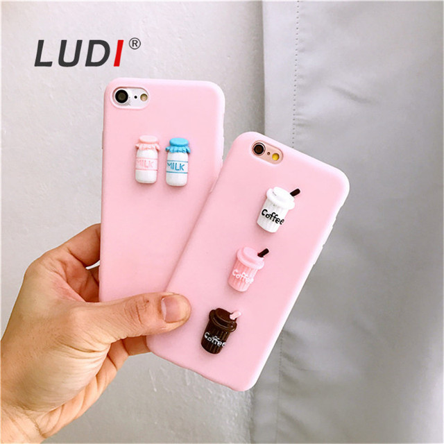 size 40 fc32a 8ffef US $3.52 20% OFF|LUDI INS Korean 3D Baby Pink Milk & Coffee Phone Cases for  iphone X 8 6 6s 6plus 6splus 7 7plus funds Soft TPU Back Case Cover-in ...