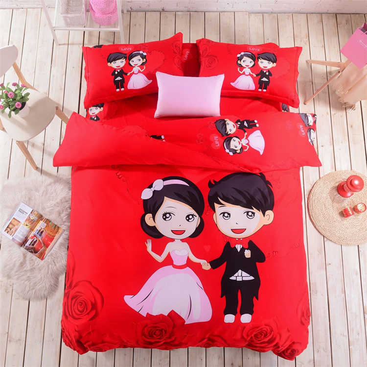 Romantic love wedding bedding set Couples in love cartoon duvet cover  cotton diagonal princess bed sheet printed bed linen queen in Bedding Sets  from Home. Romantic love wedding bedding set Couples in love cartoon duvet