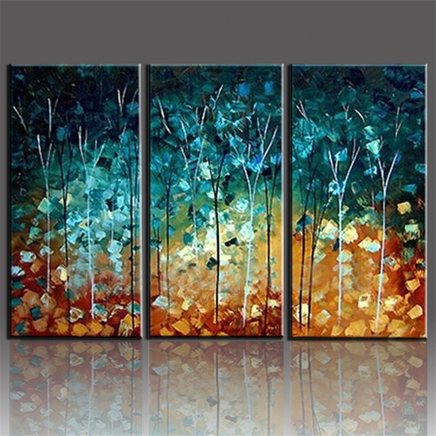 Handmade painting trees large frameless paintings oil for 3 piece wall art