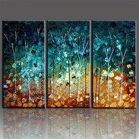 Handmade Pintura A Óleo Árvores grandes pinturas sem moldura Imagem 3 Peça Canvas Wall Art Set Decoração de Casa Hogar