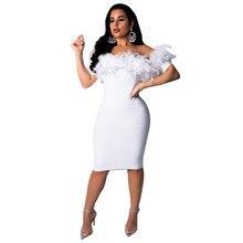 Women Off The Shoulder White Feather Bandage Dress Women Sexy Slim Bodycon Midi Dress Night Club Ladies Elegant Party Dresses цена