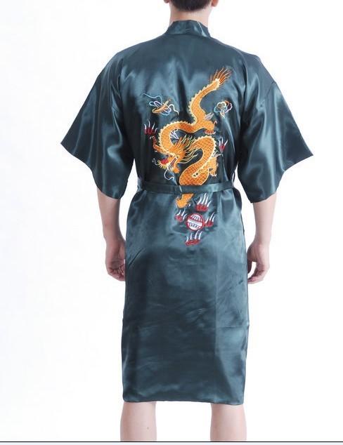 Envío gratis verde chino hombres de satén Robe Gown tradicional bordar dragón ropa de noche del Kimono del vestido Plus XXXL S0023