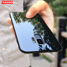 For Samsung Galaxy S9 plus case for Samsung S9 case Tempered Glass back cover hard case luxury for Samsung Galaxy S9 plus Yagoo
