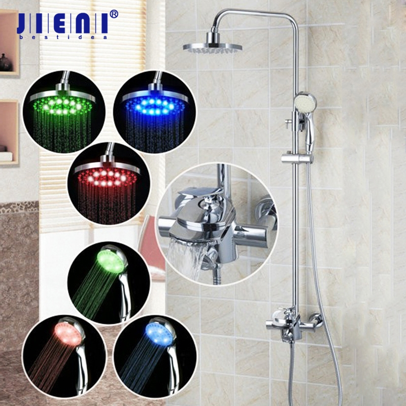 Wall Mount LED Light 8 inch Rainfall Shower Head Chrome Bathroom 50131 Bathtub Sink Faucet Shower Set Torneira Mixer Tap mars lasar mars lasar the eleventh hour