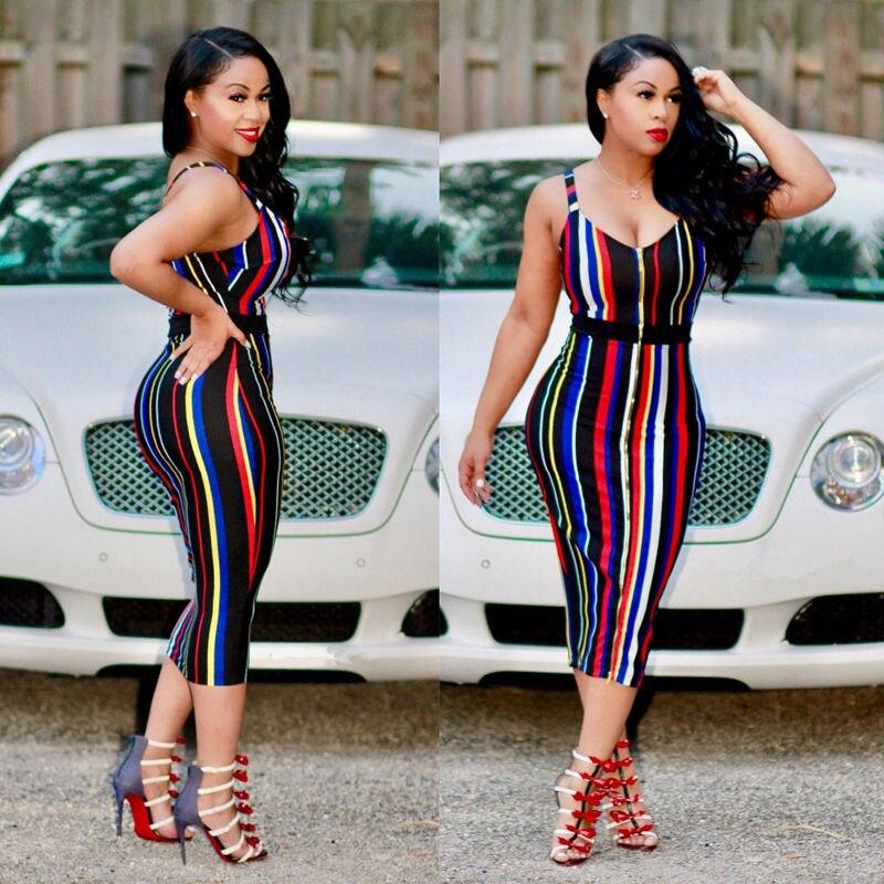 2017 Sexy Womens Ladies Dress Rainbow Striped Bodycon Sleeveless Evening Party Short Dress
