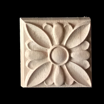New Flower Carving Natural Wood Appliques for Furniture Cabinet Unpainted Wooden Mouldings Decal Decorative Figurine