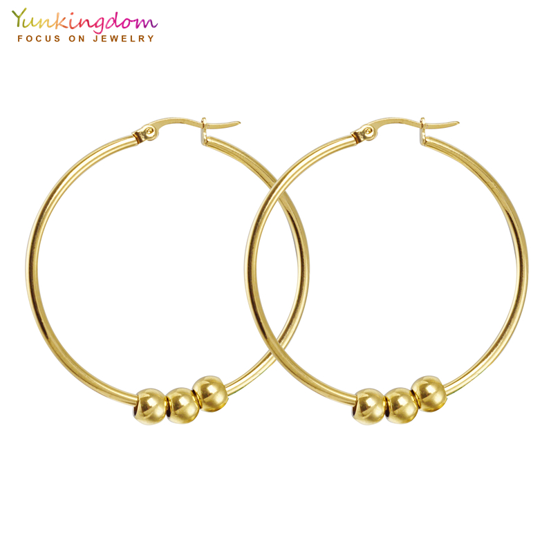 afb6d1fa3 Detail Feedback Questions about Yunkingdom Stainless Steel Gold Color  Circle Hoop Earrings for Women Ball Beads hoop earrings Crystal Hoops K2150  on ...