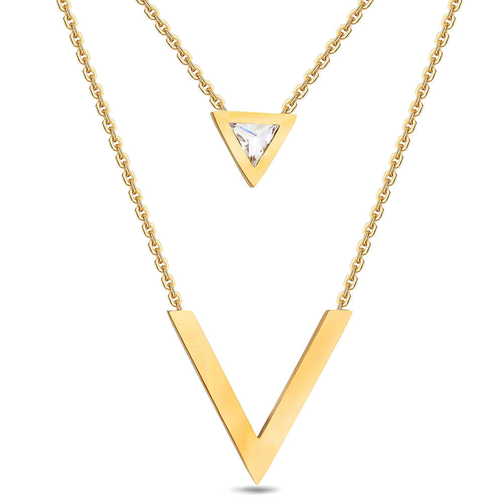 NIBA Silver/Gold-Color Double V Shape Necklace For Women Geometric Triange Cubic Zirconia Pendant & Necklace Trendy Collier