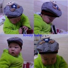 1pcs baby Spring autumn windbreak caps plaid baseball cap baby 3D bear duck peak cap 4-18 Months boy toddler hat boys hats(China)