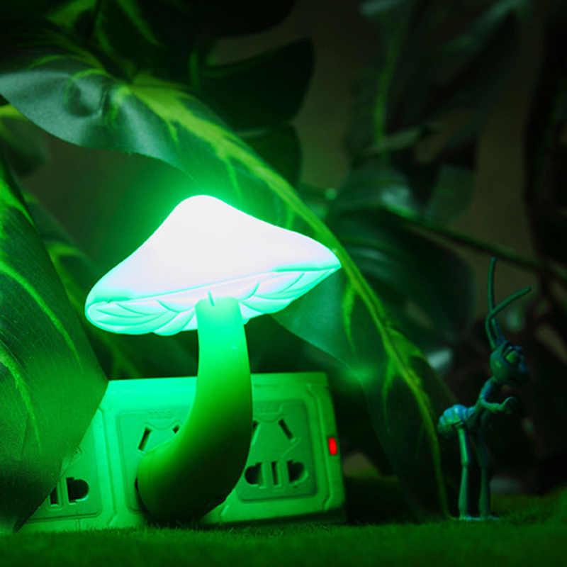 """האיחוד האירופי ארה""""ב תקע קיר מנורת Led אור חיישן לילה אור פטריות מקרן חידוש אווירה מנורת עבור תינוק ילדי חדר שינה"""