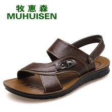 Sandálias dos homens Muhuisen Preto Com Alta Qualidade de Couro Genuíno Dos Homens Casuais Sandálias Para Moda Jovem Menino Homens Sandália Verão sapatos