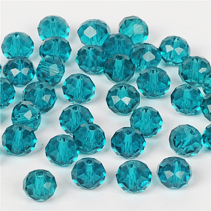 100pcs 6mm Round Crystal Glass Loose Spacer Beads lot Plated colors Peacock Blue