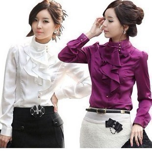 Free Shipping 2014 Spring Women s OL Slim Stand Collar Shirts Ruffle Faux  Silk Puff Sleeve Chiffon Blouses 6 Size+5 Color MX0239 91d5c2392