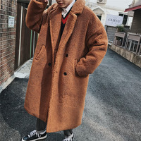 2018 Winter Men's Fashion Parkas Lamb Woolen Blends Overcoat Loose In Warm Trench Cashmere Long Coat Cotton padded Clothes M XL