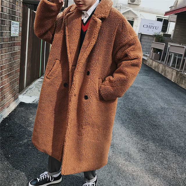 2018 зимние Мужская Мода парки ягненка шерстяное пальто свободные в теплый Тренч кашемировое длинное пальто одежда на Хлопчатобумажной Подкладке M-XL