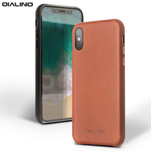 QIALINO Genuine Calfskin Leather Back Case for iPhone X