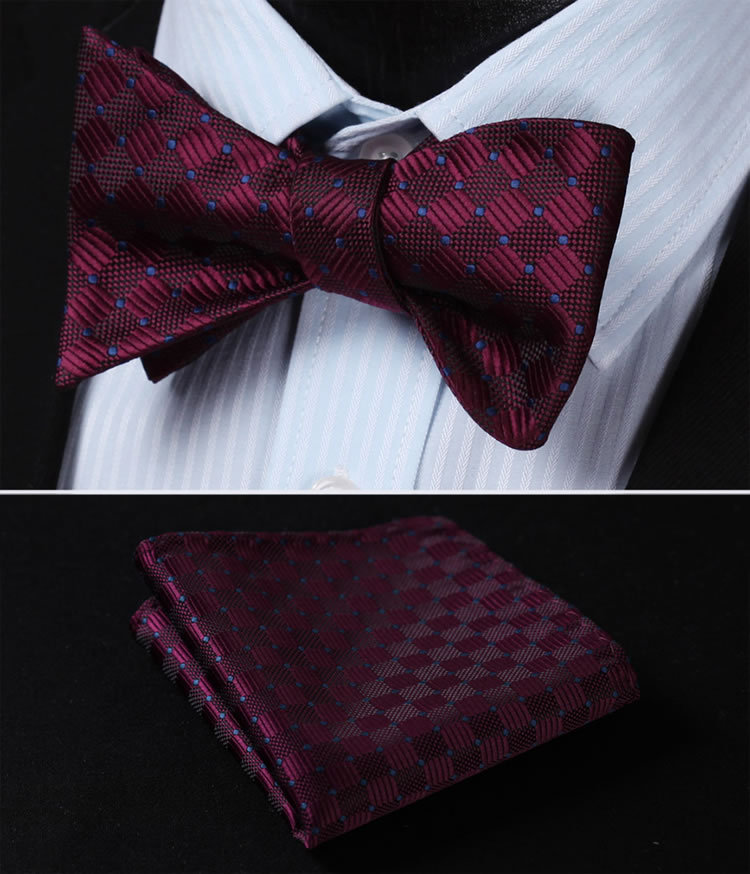 00432e88a6e8 Detail Feedback Questions about BC1017U Burgundy Blue Check 100%Silk  Jacquard Woven Men Butterfly Self Bow Tie BowTie Pocket Square Handkerchief  Hanky Suit ...