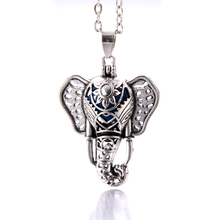 Cute Elephant Aromatherapy Diffuser Necklace Jewelry Perfume Essential Oil Locket vintage open cage Pendant Necklace With Pads new aroma diffuser necklace vintage birdcage open cage pendant perfume essential oil aromatherapy locket pendant necklace