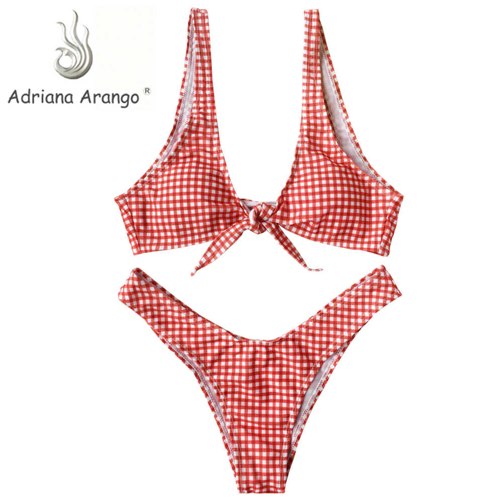 4b57dcaa97590 Adriana Arango 2019 Women New Thong Plaid Front Tie Bikini Set High Cut  Plunging Neck Swimsuit