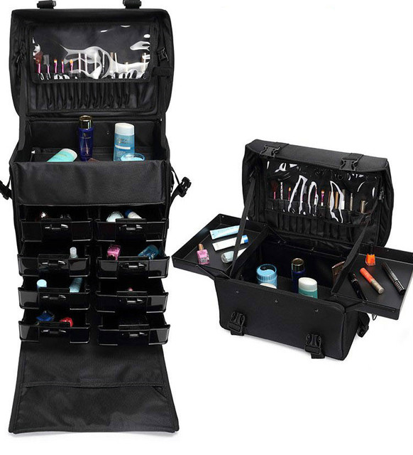 Nylon 2 In 1 Trolley Makeup Bag Professional Beauty Salon Box Hairstyle Cosmetic Case With Wheels