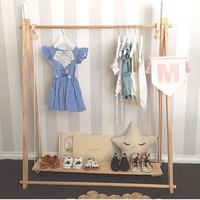 INS Suspended Wooden Shelf Shoes Rack Children Cloth Hangings Baby Room Decoration Sticker Photo Props