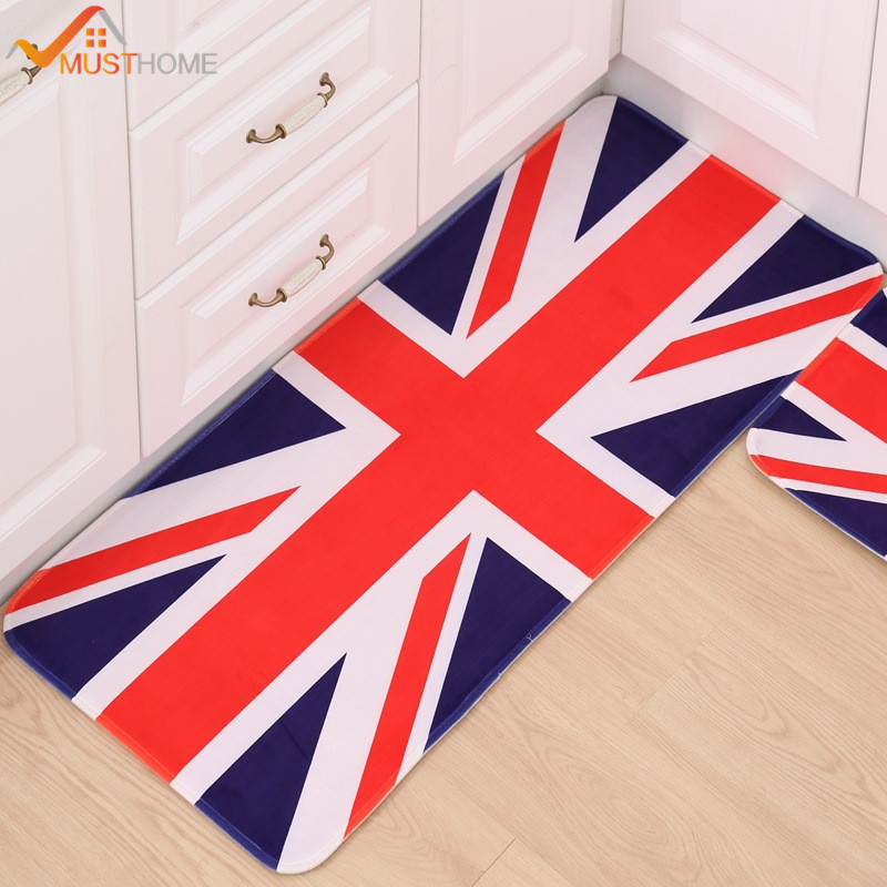 British/American Flag Printed Kitchen Mat/Rug Non Slip Bathroom Rug