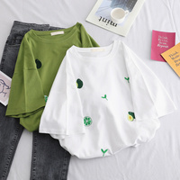 Summer Ladies T shirt Avocado Printed Embroidery Short sleeved Avocado Green Ladies Shirt Harajuku Korean Version Loose 5