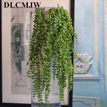 1 pçs artificial suculentas pérolas verde carnudo videira flor pendurado parede de vime artificial flor amante lágrimas plantas suculentas