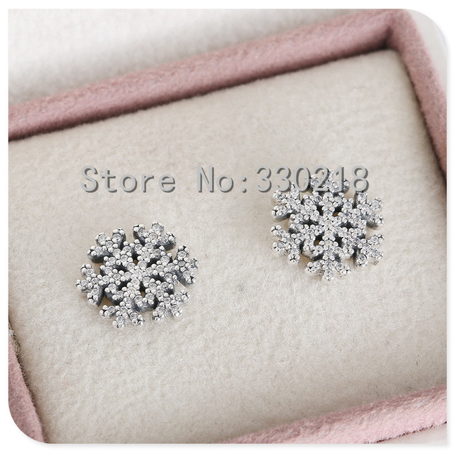 Compatible with Pandora Jewelry Snowflake Silver Stud Earrings With CZ New 925 Sterling Silver Earring DIY Wholesale