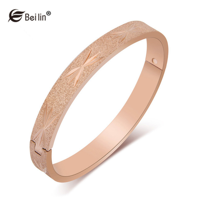 2016 Brand Design Stainless Steel Scrub Bracelet Bangle Pulseiras Rose Gold Plated Fashion Bangles For Women Jewelry (F86003M)