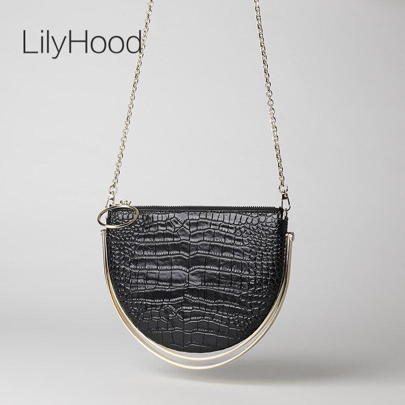 Cowhide Crocodile Skin Print Semi Circle Handbag Lady Small Chain Clutch Bag Women Designer Genuine Leather