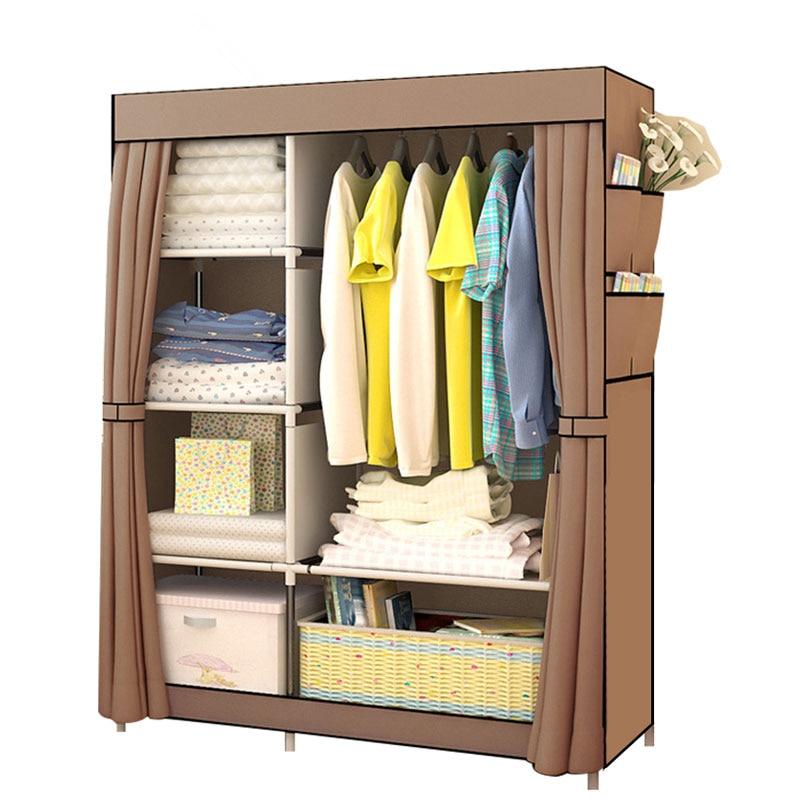 Спальня шкаф нетканые ткани складной ткани Уорд сборки хранения гардероб большой Размеры подкрепление Комбинации