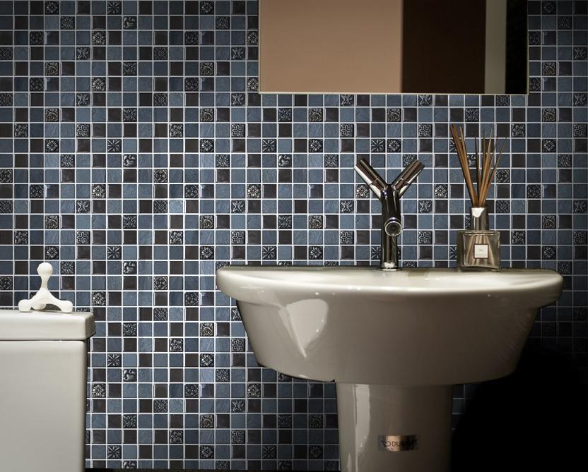 Mozaiek Tegels Keuken : Vierkante zwart grijs kleur steen gemengde metalen mozaïek tegels