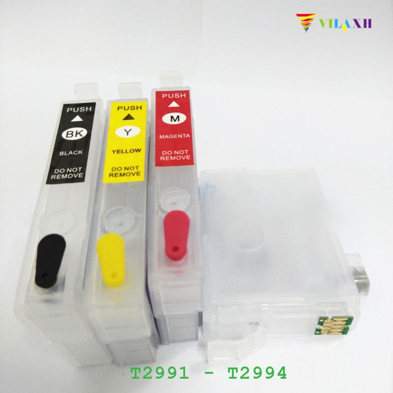 T2991 - T2994 Refillable Ink Cartridge For Epson 29 29xl Expression XP-235 XP-332 XP-335 XP-432 XP-435 Printer One Time Chip loft restaurant dining room bar bedroom living room aisle cafe pendant lamp retro art wood iron cage pendant light hanging light