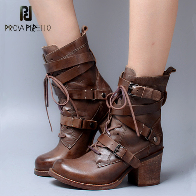 Prova Perfetto Punk Style Genuine Leather Women Ankle Boots Straps High Heel Shoes Female Autumn Winter Platform Martin Boots women martin boots 2017 autumn winter punk style shoes female genuine leather rivet retro black buckle motorcycle ankle booties