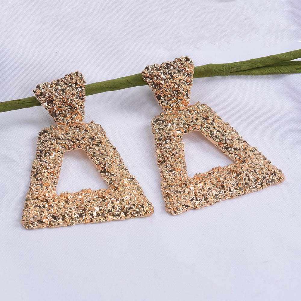 2019 New Gold Metal Za Earrings Jewelry Women Geometric Square Long Drop Earrings Female Vintage Statement Large Dangle Earings