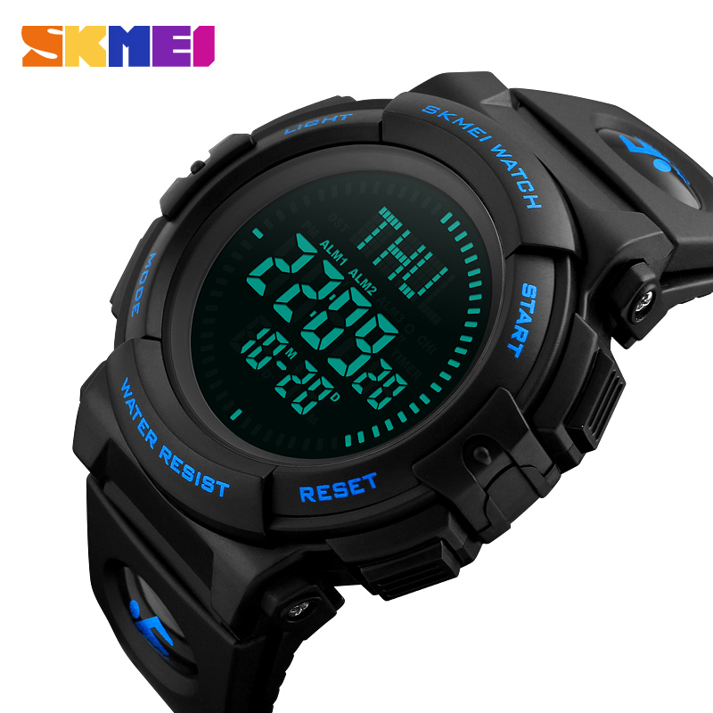 SKMEI Compass Sports Watch Men World Time Summer Time Watch Countdown Military LED Clock Digital Wristwatches Relogio Masculino